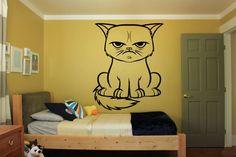 Wall Room Decor Art Vinyl Sticker Mural Decal Grumpy Cat Bedroom Girl Nursery Pattern Love Animal Honey Sweet Poster Pussycat Kitty FI104