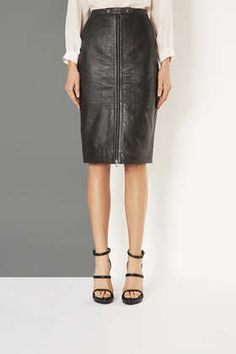 Leather Zip Pencil Skirt by Boutique