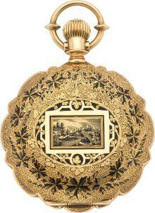 Victorian Enamel & Gold Pocket Watch - Elgin,  circa 1879