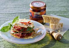 Mille-feuilles de tomates et jambon de Parme