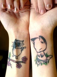 My very first two tattoos.I wanted something small, simple, and adorable. I decided to start small to make sure I wasn't going to be a total pussy about the pain. I didn't want to start out with something huge and obnoxiously cry through the whole thing.I named them Wembley and Thaddius. They're a constant reminder to live freely, and stay clever.