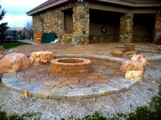 Paver patio with fire pit finished late fall 2012 currently working on plant design  check back to see finished look