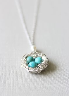 Bird Nest Necklace in Sterling Silver with Turquoise Eggs (PRIORITY SHIPPING)…