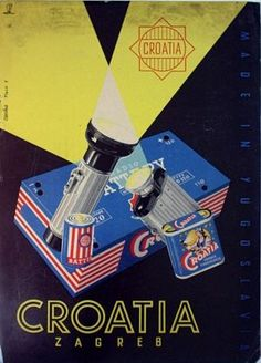Poster for factory Croatia batteries, approx. 1950s, author: unknown (Vladimir Fleck?).