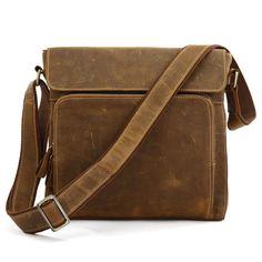 Vintage Handmade Genuine Crazy Horse Leather Messenger Bag Satchel / Ipad