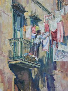 Hanging Laundry (Sorrento Italy) by John Michael Carter Oil ~ 16 x 12 Watercolor Landscape, Watercolour Painting, Laundry Art, Laundry Room, Laundry Lines, Sorrento Italy, Illustration Art, Illustrations, Anime Comics