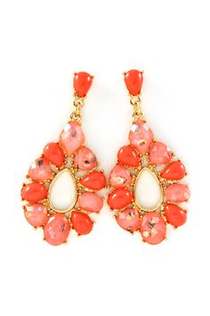 Coral Mother of Pearl Sadie Earrings on Emma Stine Limited