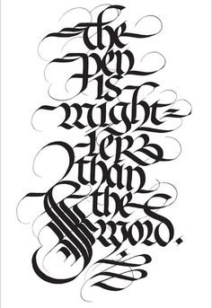 The Pen is mightier than the (s)word Calligraphy work by Ieuan Rees