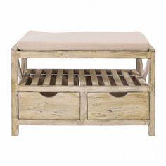 Modern Storage Bench Organizer Furniture Rack Wooden Seat Cabinet Cushion Brown for sale online