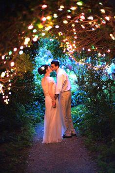 Fairy light arch - ceremony, twilight wedding