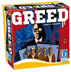 Greed Board Game Queen Games. Mafia Boss themed drafting game with adult art. Not appropriate for my pre-adolescent girls. Apparently, it's a good game though. Check out the YouTube review from boardtodeath