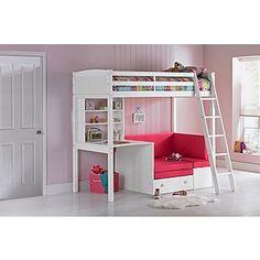e2609cd64c0 Classic White Highsleeper with Ashley Mattress- Fuchsia Sofa White Kids Bed