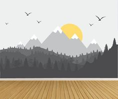 Mountain Wall Decals, Nursery Wall Decals, Woodland Wall Decals, Baby Room Wall Decals-Nursery Decor - Home Baby Room Wall Stickers, Nursery Wall Decals, Wall Murals, Nursery Murals, Baby Room Design, Baby Room Decor, Nursery Decor, Nursery Room, Wall Decor