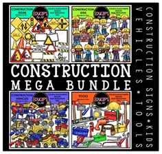 This is a collection of 4 clip art sets. The sets in this collection are:Construction signs, vehicles, Kids and Tools.The images in each set are:Construction signsThe signs in this set include traffic light, passing (overtaking), traffic circle (roundabout), junction (crossroads), rocks falling, walk, at work, under construction and a variety of blank signs for you to add your own choice of words.44 images (26 in color and 18 in B&W)Construction VehiclesCement truck, crane, digger, engine…