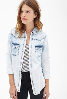 Bleached Chambray Shirt | FOREVER21 - 2000082837