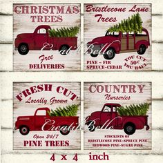 4x4 Inch Vintage Red Christmas Trucks On Wood By CreatifBelle 350