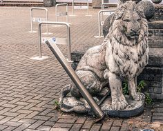 PUBLIC ART IN LIMERICK [JUNE 2014] - LION GUARDING A CAR PARK [The Streets Of Ireland]