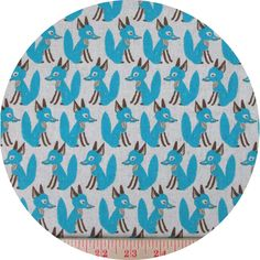 """Hokkoh, CANVAS, Fancy Fox, Blue  Fabric is sold by the 1/2 Yard. For example, if you would like to purchase 1 Yard, you would enter 2 in the Qty. box at Checkout. Yardage is cut in one continuous piece.  Examples:  1/2 yard = 1 1 yard = 2 1 1/2 yards = 3 2 yards = 4   1/2 Yard Measures 18"""" x 44/45""""  Fiber Content: 100% Cotton Canvas"""