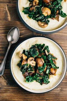 Cauliflower Puree with Sautéed Mushrooms (vegan, gf)