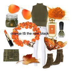 """Is Orange Really the New Black? You Betcha."" by tammyannedesigns-1 on Polyvore featuring Diesel Black Gold, Oribe, WearAll, Tuscany Leather, Borghese, Aquazzura, Jo Malone, fashionWeek, fashionset and Orangethenewblack"