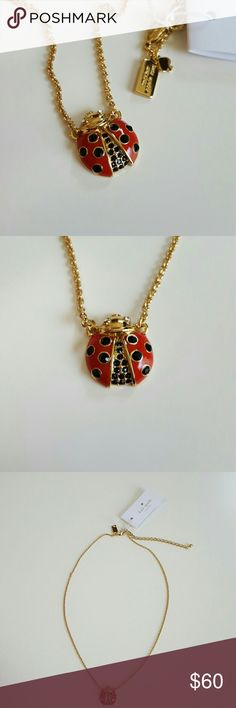 "Kate Spade Ladybug Necklace This beautifully detailed ladybug necklace is by Kate Spade New York and has a detailed red enamel wings with black glass crystal spots and the center also has black crystals with shiny clear glass crystal eyes. This is 12k gold plated and is stamped on the back and hanging tags. This was part of the Garden Party collection. This is brand new and unused and includes the dustbag. Other great accessories in my closet. Great with your favorite shirt and jeans. 20""…"