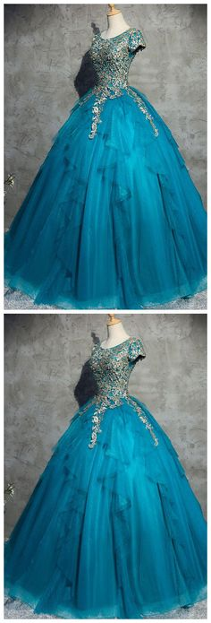 Unique blue tulle lace top round neck winter formal prom dresses, long evening dress with sleeves #modestpromdress #newpromdress #2018fashions #newstyles #lace #blue