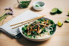 Rice Noodle Salad with Spring Vegetables and Tahini-Lime Dressing recipe: Heaps of vegetables and a wonderfully sweet and sour tahini-lime dressing. #food52