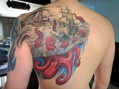 Giant octopus color tattoo