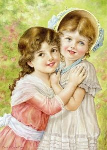 Two Victorian Children by Colin Bradley - Section from Emile Vernon Poster's Painting
