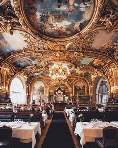 Le Train Bleu - is a restaurant located in the train station 'Gare de Lyon' in Paris. It is a beautiful restaurant from the Grand Epoque Era of Design. Paris Travel, France Travel, Le Train Bleu Paris, The Places Youll Go, Places To Go, Grande Hotel, Hello France, Luxury Restaurant, Restaurant France