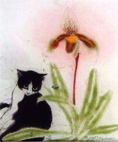 Elizabeth Blackadder British) - The Great Cat Blackadder, White Cats, Cat Drawing, Pretty Cats, Crazy Cats, Cat Art, Pet Birds, Printmaking, Illustration Art