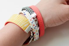 via MAKE | How-To: Fabric Bracelets - great for using scraps!