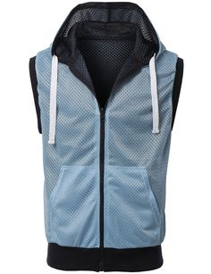 Wear this active mesh hoodie vest to give a flare to any outfit. Plus, it is reversible for multiple looks. Pair it with a basic t-shirt and dark denim pants for a relaxed look. Feature - 55% Cotton /