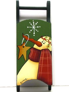 Snowman Sled Ornament, Green, Handpainted