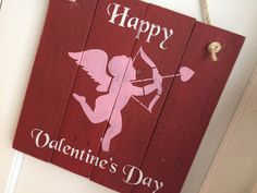 Rustic 'Love You More' Wall Art Hanging Door by JodiMarieDesigns Red Wall Art, Hanging Wall Art, Valentines Day Decorations, Happy Valentines Day, Bamboo Background, Arrow Painting, Pallet Designs, Door Signs, Cupid