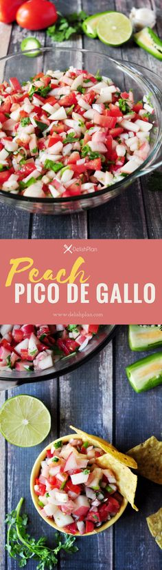 When classic pico de gallo meets fresh peach, the whole thing turns into a refreshing summer appetizer that you won't get enough of! Vegetarian Recipes Easy, Vegetable Recipes, Healthy Recipes, Sweets Recipes, Delicious Recipes, Free Recipes, Desserts, Easy Family Meals, Family Recipes