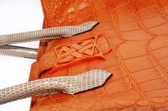 ANALEENA- The Kate Cabas in Matt Orange Crocodile with Lizard Handles