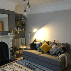 I love cosy Winters at home, but I do wish Spring would hurry up and make an appearance! Victorian Living Room, Cottage Living Rooms, Living Room Grey, Home Living Room, Interior Design Living Room, Living Room Designs, Living Room Decor, Dado Rail Living Room, Farrow And Ball Living Room