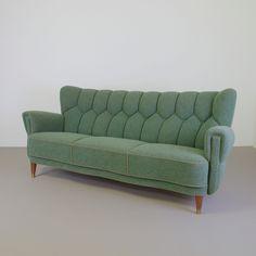 jaren 40 3-zits bank scandinavisch design groene stof