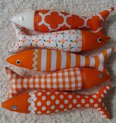 Handmade traditional Portuguese sardines - the orange collection! by OlaFishyWishy on Etsy