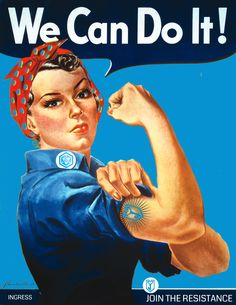 Rosie the Riveter is a feminist icon. She represented the women who worked in factories and shipyards during These women sometimes took entirely new jobs and had to replace male workers who went into the military. Rosie The Riveter Costume, Rosie Riveter, Ingress Resistance, Pin Up, Ww2 Posters, Feminist Icons, We Can Do It, Arte Pop, 1940s Fashion