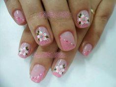 Uñas Colorful Nail Designs, Nail Art Designs, Nails Design, Nail Manicure, My Nails, Flower Nails, Artsy, Polish, Floral