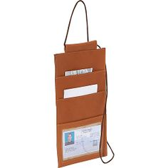 #Piel, #TravelAccessories, #TravelWallets - Piel Hanging Travel Wallet - Saddle