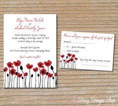 Wedding Invitation  Colorful Poppies Spring by DaisyDesignShop