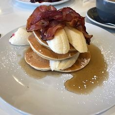 of the time I eat Gluten and Dairy free but occasionally I will treat myself. Pancakes for brunch. Killing it! Treat Yoself, Crohns, Gluten Free Recipes, Free Food, Dairy Free, Pancakes, Friday, Treats, Breakfast
