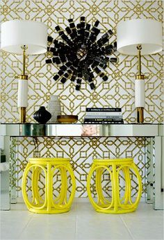 And once you enter the home, how about a pop of color to welcome you? These yellow stools are just the right amount of color to grab your attention and sets off beautifully against the white, gold and mirrors. A-Z Home Decor Trend 2014: Yellow Accents