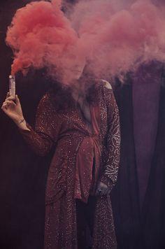 Woman and smoke photography by Alexandra Valenti