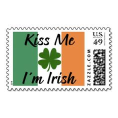 Kiss Me, I'm Irish Postage Stamps. Medium size (also available in small size). Great for use on St. Patrick's Day cards and correspondence or Irish themed wedding invitations, announcements, save the dates, RSVP, and thank you envelopes, etc.