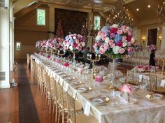 Centerpieces, high's & low's, lining the table - Designs by Crest Florist
