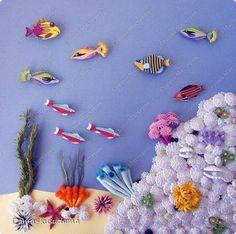Картина панно рисунок Мастер-класс Аппликация Гофроквиллинг Квиллинг Подводный мир + мини MK Бумага Песок Проволока фото 1